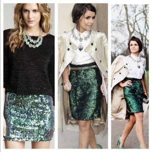 Green sequin skirt